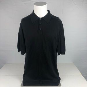 Anthology Black 100% Silk Button Up Polo Tee Shirt
